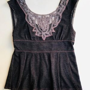 Free People Sleeveless Charcoal Top
